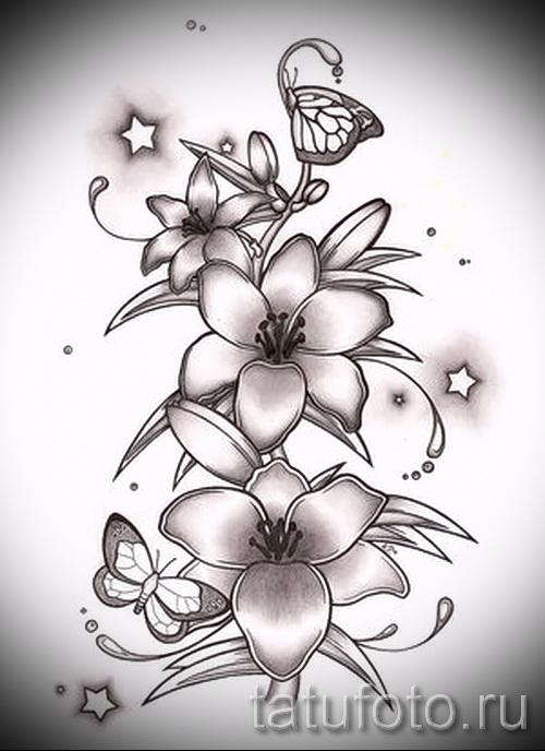 Эскиз цветов для тату