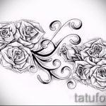эскиз тату розы на бедре - смотреть прикольную картинку 3