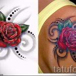 эскиз тату розы на бедре - смотреть прикольную картинку 6