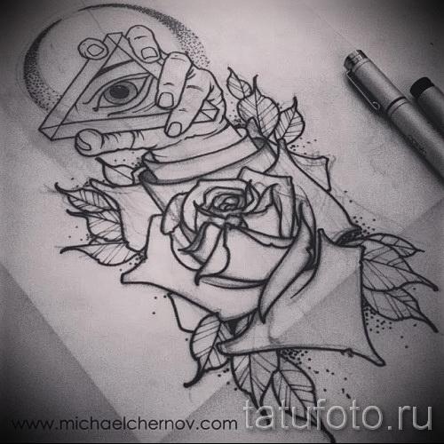 Тату эскизы на руке роза
