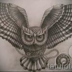 эскиз тату сова на груди 4