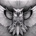 эскиз тату сова на спине 8
