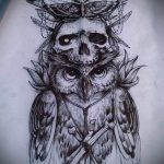 эскиз тату сова с черепом 1
