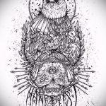 эскиз тату сова с черепом 2