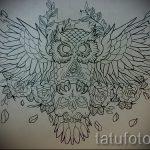 эскиз тату сова с черепом 5