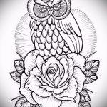 эскиз тату совы в розах 1