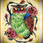 эскиз тату совы в розах 4