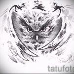 эскиз тату совы на ногу 10