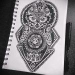 Крутой эскиз от профи с рисунком совы для тату