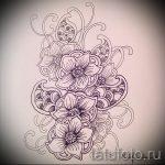 эскиз тату цветы на бедро - рисунки от 26-04-2016 2