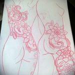 эскиз тату цветы на бедро - рисунки от 26-04-2016 7