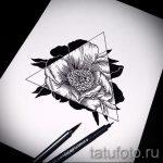 эскиз тату цветы розы с треугольником - смотреть прикольную картинку 1