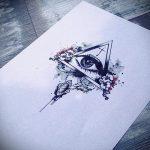 эскиз тату цветы розы с треугольником - смотреть прикольную картинку 3