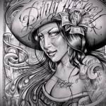 Chicano sketch of a tattoo on the arm 4