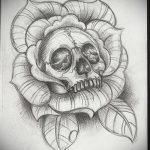 Rose tatouage croquis noir et blanc 2