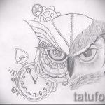 Skizze Eule Tattoo auf Bein 1