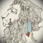 Skizze der Tattoo-Löwe mit Federn - Bilder für Tätowierungen von 29042916 1