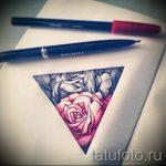 Skizze der Tattoo-rosa Blüten mit einem Dreieck - cool Tapete zu sehen 1