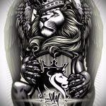 Skizzen Tattoo Löwe mit Krone - Bilder für Tätowierungen von 29042916 1