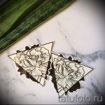 croquis de tatouage fleurs rose avec un triangle - à regarder cool fond d'écran 3