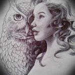 croquis de tatouage hibou pour les filles 1