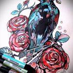 croquis tatouent roses colorées - regardez cool fond d'écran 1