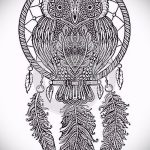 hibou et Dreamcatcher tatouage croquis 2