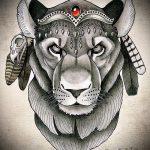 lion de tatouage croquis avec couronne - images pour les tatouages de 29042916 3
