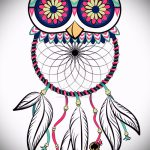 owl and Dreamcatcher tattoo sketch 2