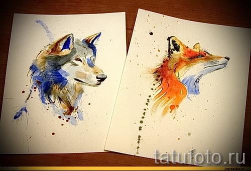 renard tatouage croquis colorés - voir les photos 25.04-2016 3