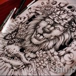 sketches of a lion tattoo on his back 4