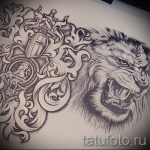 sketches of a lion tattoo on his back 8