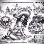 tatouage style d'esquisse Chicano 1