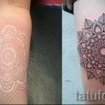 белая мандала тату - фото пример готовой татуировки от 01052016 1