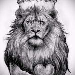 лев с короной тату эскиз - рисунок для татуировки от 15052016 1