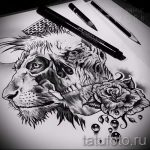 лев с короной тату эскиз - рисунок для татуировки от 15052016 12