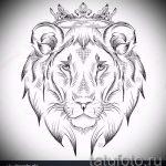 лев с короной тату эскиз - рисунок для татуировки от 15052016 13