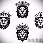 лев с короной тату эскиз - рисунок для татуировки от 15052016 15