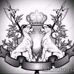 лев с короной тату эскиз - рисунок для татуировки от 15052016 17