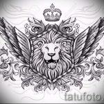 лев с короной тату эскиз - рисунок для татуировки от 15052016 18