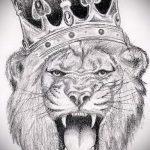лев с короной тату эскиз - рисунок для татуировки от 15052016 3