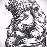 лев с короной тату эскиз - рисунок для татуировки от 15052016 4
