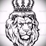 лев с короной тату эскиз - рисунок для татуировки от 15052016 8