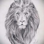 лев с короной тату эскиз - рисунок для татуировки от 15052016 9