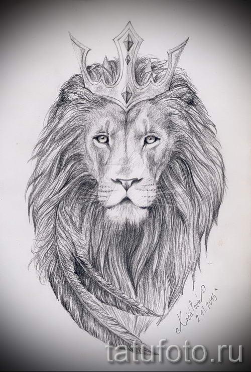 Лев с короной рисунки