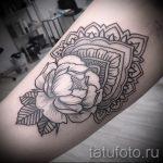 мандала в форме пиона тату - фото пример готовой татуировки от 01052016 2