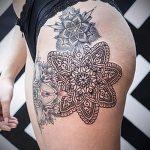 мандала на ноге тату - фото пример готовой татуировки от 01052016 14