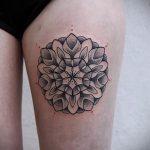 мандала на ноге тату - фото пример готовой татуировки от 01052016 19