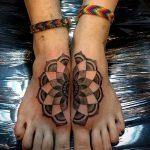 мандала на ноге тату - фото пример готовой татуировки от 01052016 38