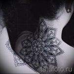 мандала на шее тату - фото пример готовой татуировки от 01052016 13